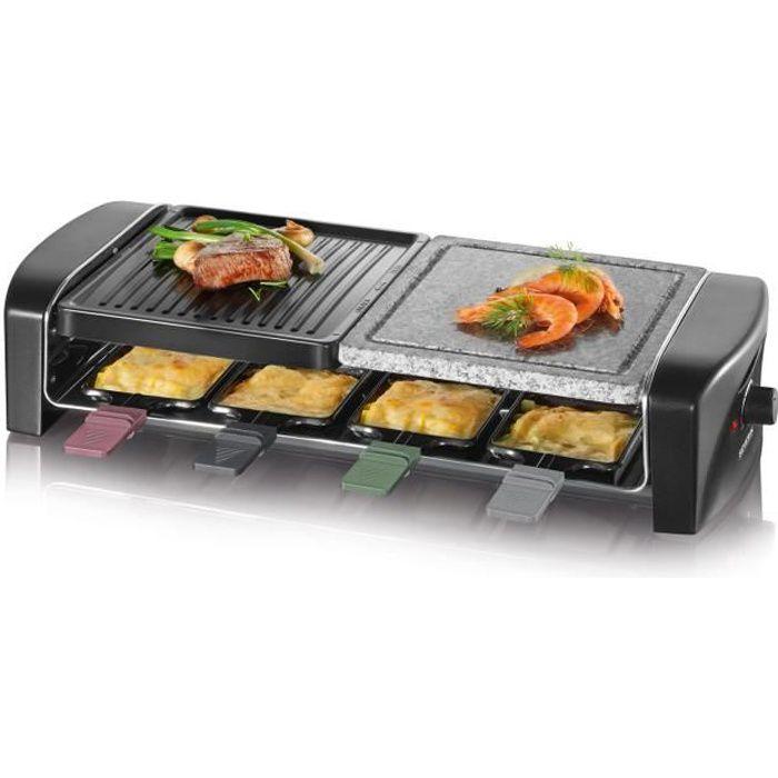 Gril raclette multifonction avec pierre de cuisson - Capacité : 8 poêlons anti-adhésifs - Puissance : 1400WMIXEUR ELECTRIQUE