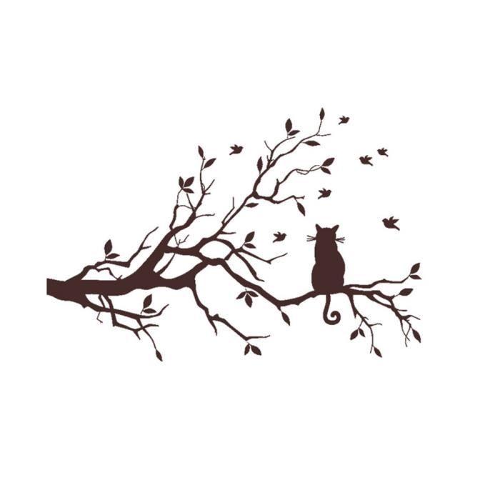 Chat Sur Long Branche D'arbre Autocollants Muraux Animaux Chats Art Decal Chambre Enfants Décor Rme1063