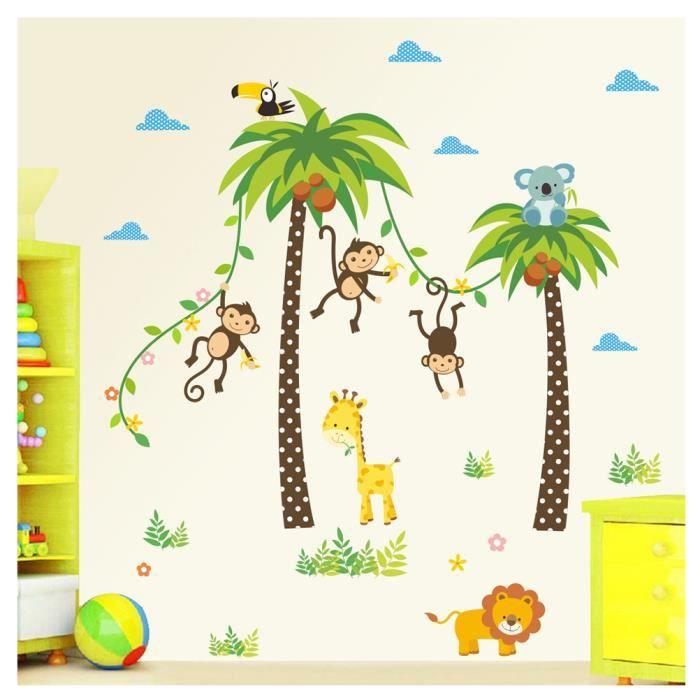 Jungle Autocollants Muraux Mural Stickers Chambre Enfants Bébé ...