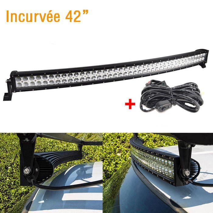 42 240w barre de led incurv e offroad phare rampe de travail 4x4 light barjeep quad v hicules - Rampe led voiture ...