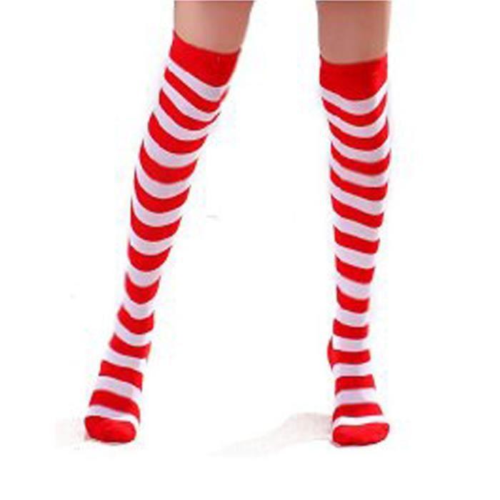 hautes chaussettes ray es blanc rouge femmes au dessus du genou halloween achat vente. Black Bedroom Furniture Sets. Home Design Ideas