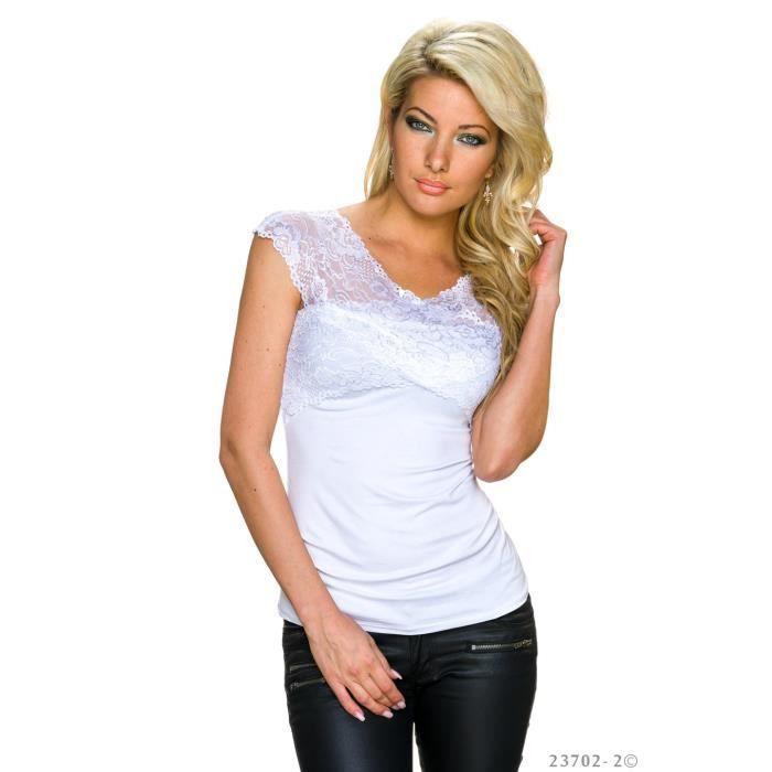 top tee shirt chic blanc crois bandeau haut dentelle achat vente t shirt 6798456145645. Black Bedroom Furniture Sets. Home Design Ideas
