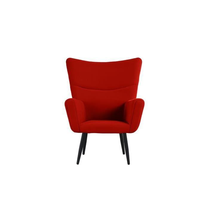 Fauteuil rétro moderne - Coloris différents - Velours - 113x88x87 cm Rouge fb1647c2f798