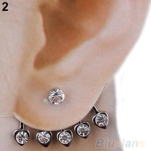 Bijoux D Oreille Cartilage nouvelle boucle d'oreille argent Étoile rose fleur diamante cristal