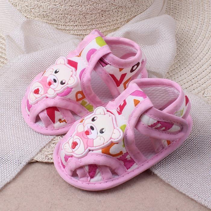 Napoulen®Bébé filles Garçon Doux semelle Cartoon anti-dérapant chaussures Casual sandales ROSE-NYZ0926063