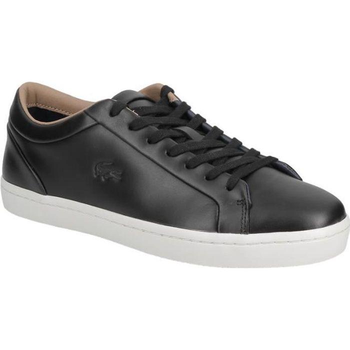 Basket Lacoste Straightset 317 1 en cuir premium noir Noir Noir - Achat / Vente basket  - Soldes* dès le 27 juin ! Cdiscount