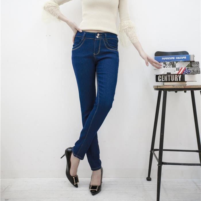 f98fda5075ac57 Corée Vêtements BF Femmes Jeans taille haute couleur solide pur taille  haute dames Slim Denim Pantalons Jeans Bas Noir Bleu