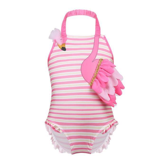 c2e5d43d67b3c Maillot de bain bébé fille - une pièce rose flamant à volants Tissu  extensible natation vêtements de plage gymnastique sport