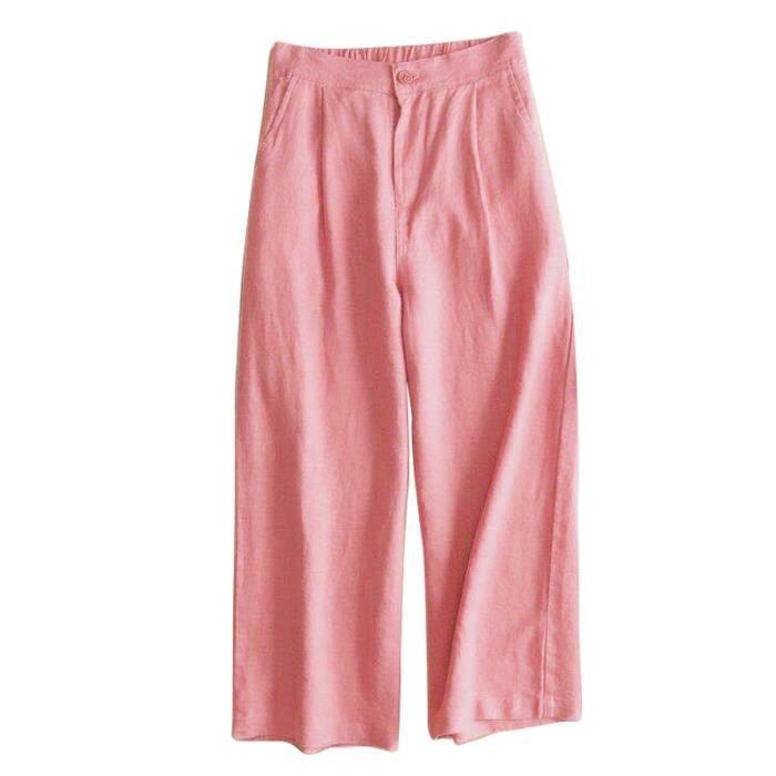 8665cc5b53ec Automne Nouveau Coton Lin Jambe Large Femme Pantalons Bouton Taille ...