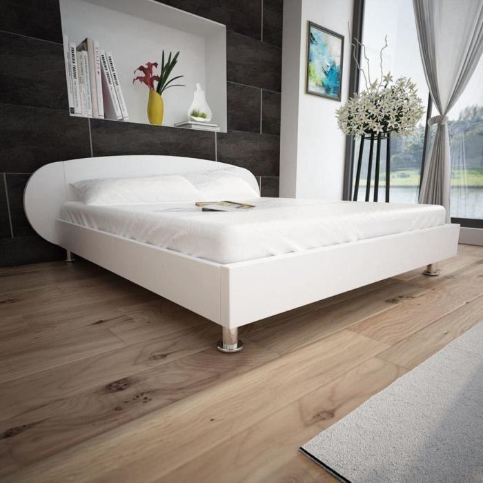 Magnifique Blanc 180 Artificiel X Lit 200 Cuir Cm Economique 0OmNv8wyn