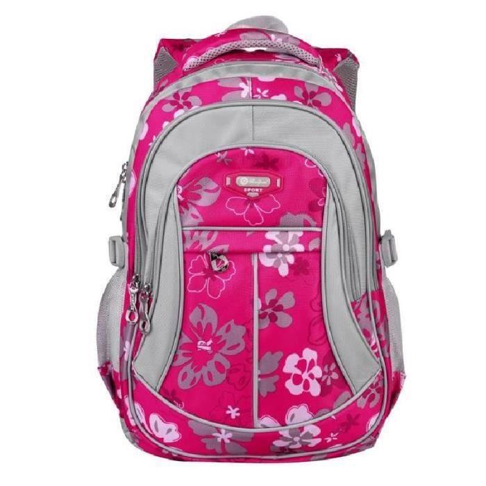 SHELOVEIT® Floral-Pattern School Bag sac à dos extrêmement léger pour diminuer la pression (Rose)