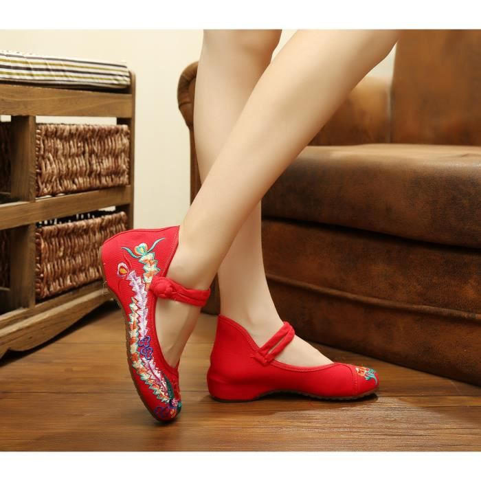 Ballerines Chaussures Femme Rouge