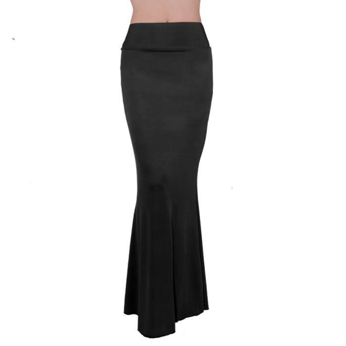 jupe femmes robe longue High Waisted élégante jupe Maxi couleur unie