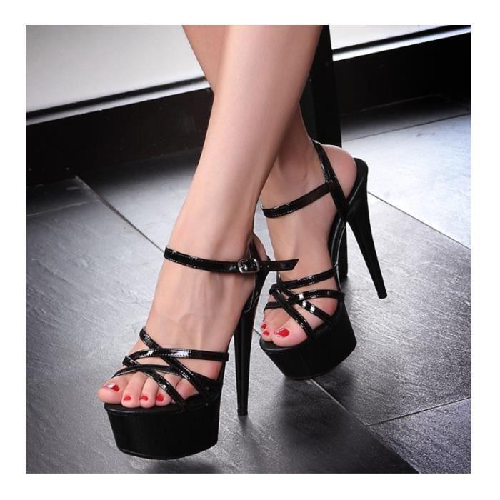 Sandales De Talon Haute Aiguille Escarpin Femmes Plateforme Epais Sexy Soirée jPaQfi0
