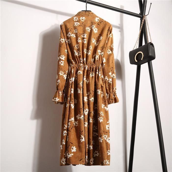 Robe jaune Paty Floral Casual Femmes Longues Dames De À Manches Chemise Longue 8PwAaq