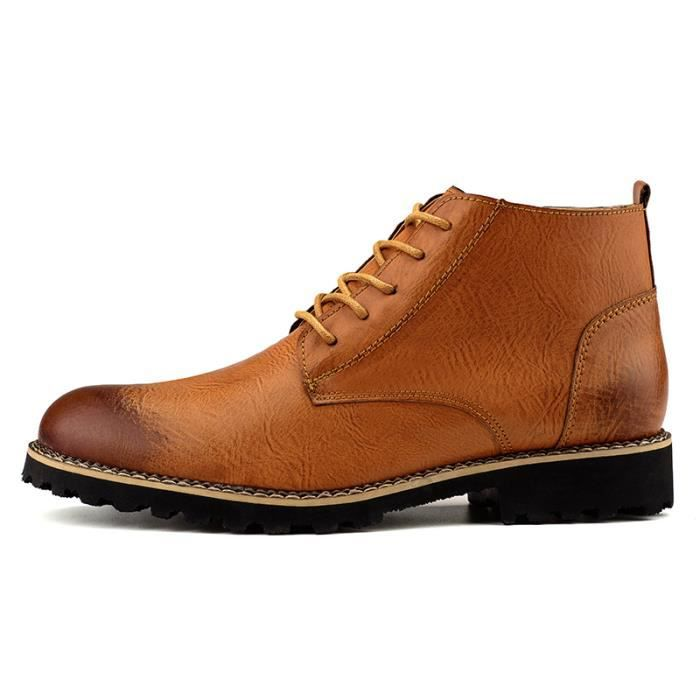Bottes Homme Chaussures Militaire Armée Chevalier Thick avec Lacets Masculines Chaussures GkO3YrM
