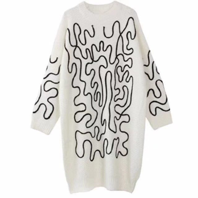 Femmes Pulls Pulls Nouvelle Mode Col Rond Automne Hiver Tricot Pulls Manches Longues Moyen Longue Robe Pull