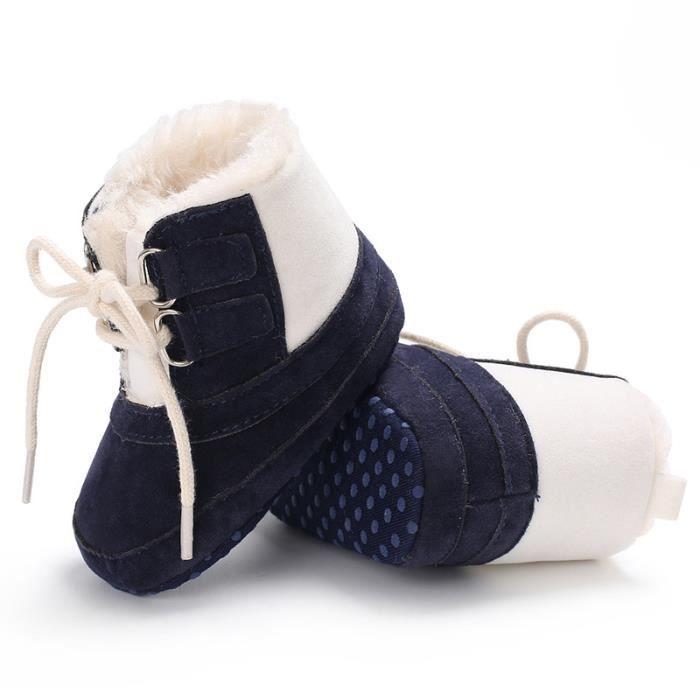 Bleu-Hiver Bébé Garde au chaud Bottes de neige Loisirs Fond mou Chaussures de bébé