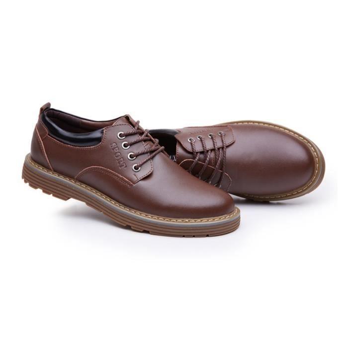 JOZSI Chaussures Hommes Cuir Respirant mode Homme chaussure de ville ZX-XZ200Rouge43