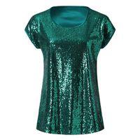 T-SHIRT Femmes d'été Sequin Casual manches courtes T-shirt