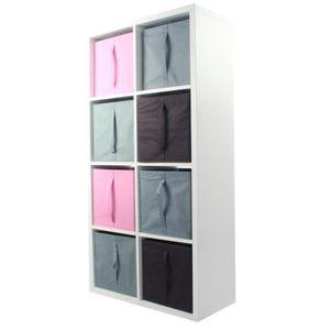 MEUBLE ÉTAGÈRE COMPO Meuble De Rangement 8 Cases + 8 Cubes Rose/G