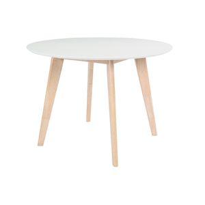 Table a manger en bois brut achat vente pas cher - Table a manger laque blanc et bois ...