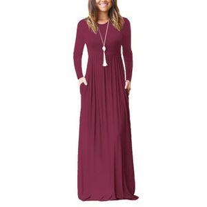 fe14e74bf3b20 ROBE Robe Longue Femme Grande Taille Manche Longue Col