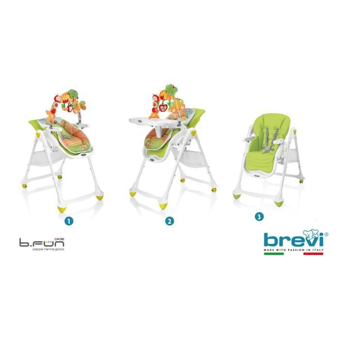 BREVI Chaise Haute B-Fun Multifonctions Bambou