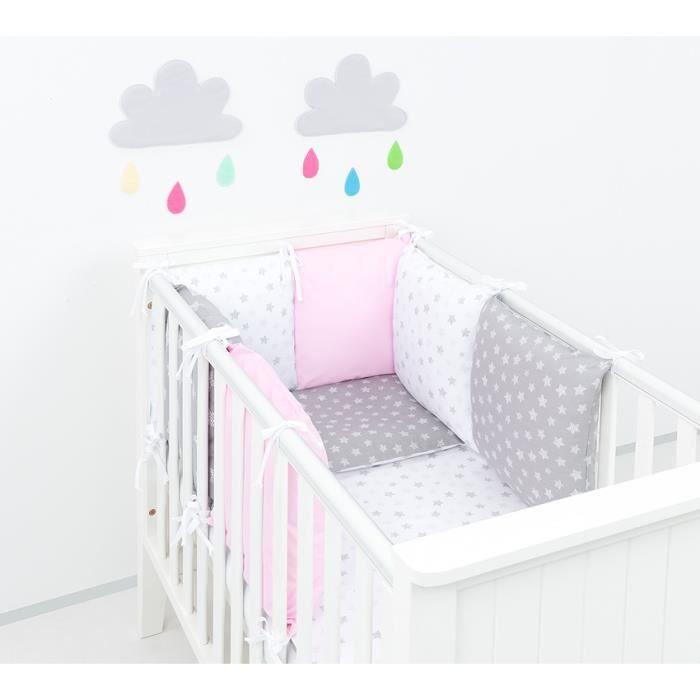 Solenzo- Parure de lit bébé rose gris 14 pièces - Tour de lit ...