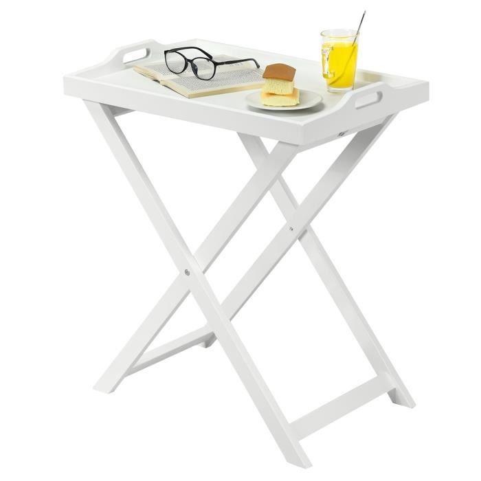 Table Basse Pliable Table D Appoint Pliante Style Contemporain Laquee Blanc En Mdf Pour Repas Ou Rangement 58 X 38 X 67 5cm