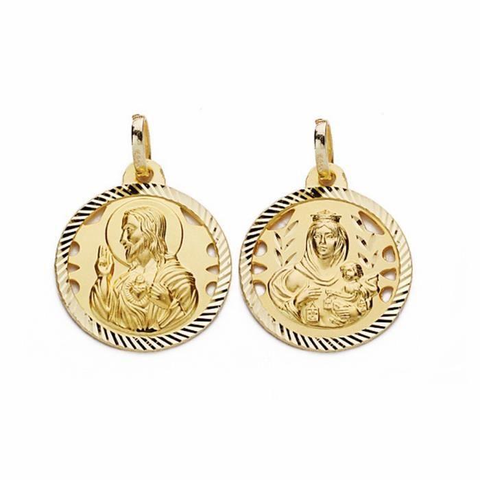 Médaille pendentif 18mm en or 18 carats Scapulaire Vierge Carmen Coeur de Jésus [AA2474]