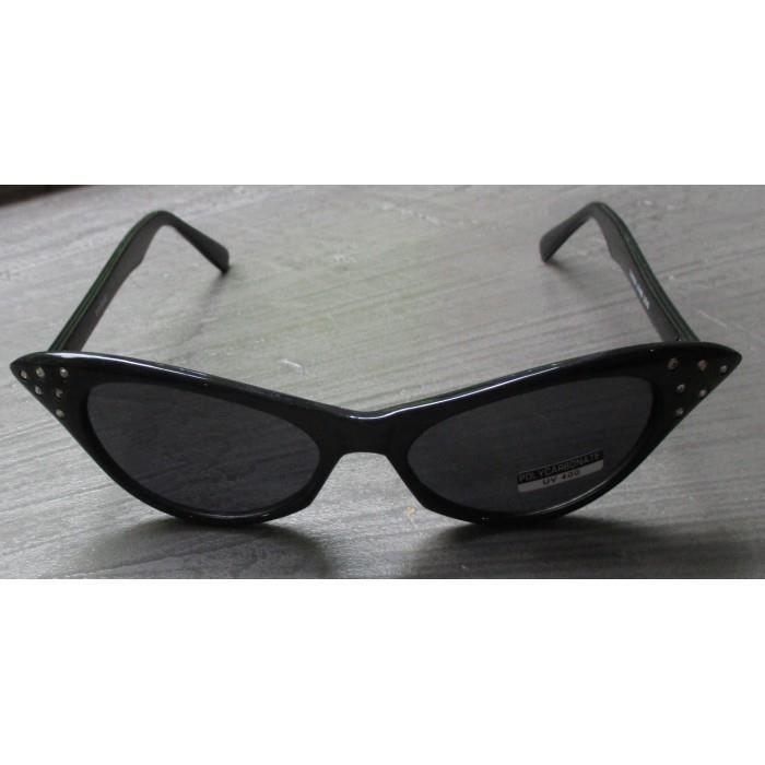 lunette de soleil femme cat eye strass noir pin up rockab