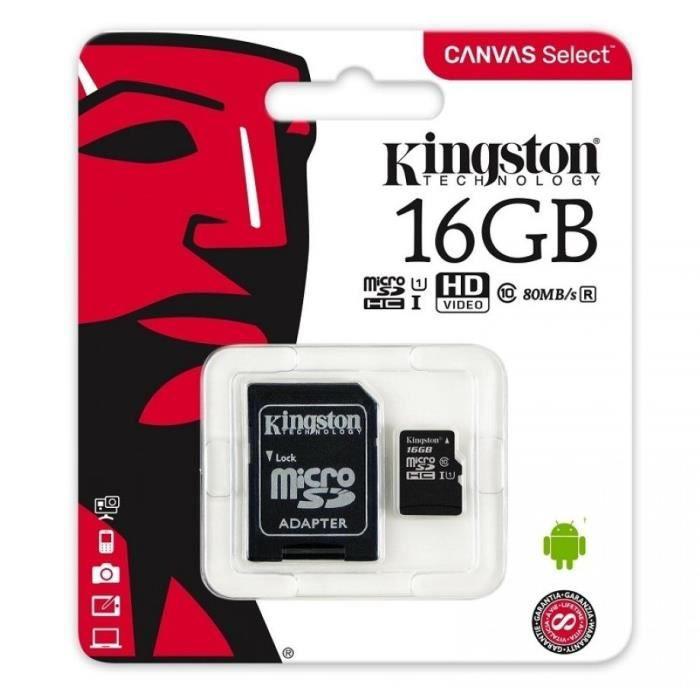 CARTE MÉMOIRE Kingston Canvas Select SDCS/16GB - Carte mémoire m