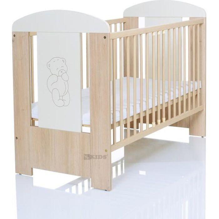 LIT BÉBÉ Lit bébé OURS 120x60 en pin gravée avec l'applicat