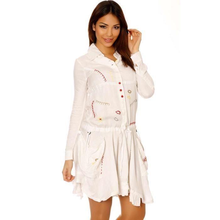 Miss Wear Line - Robe tunique blanche boutonné avec broderie -