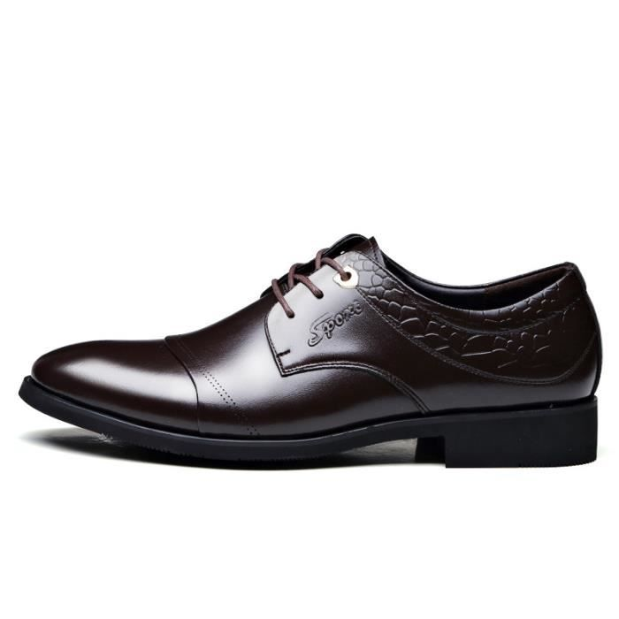Hommes Cuir véritable chaussures pointues Lace-...