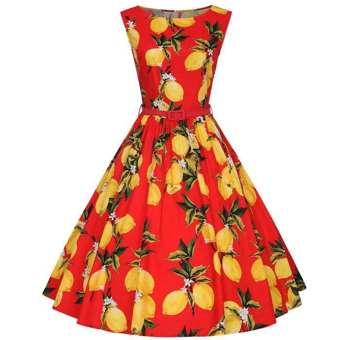 Moollyfox Femme Vintage 50s Style Audrey Hepburn Rockabilly Swing Imprimé Citron Robe de Soirée Cocktail avec Ceinture