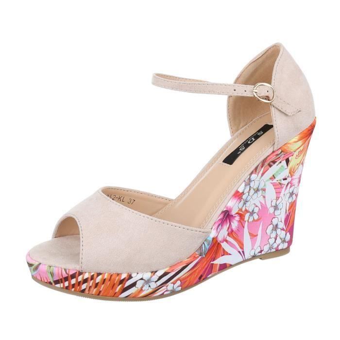 femme sandalette chaussure semelle compensée Wedges escarpin Beige vJB7G4