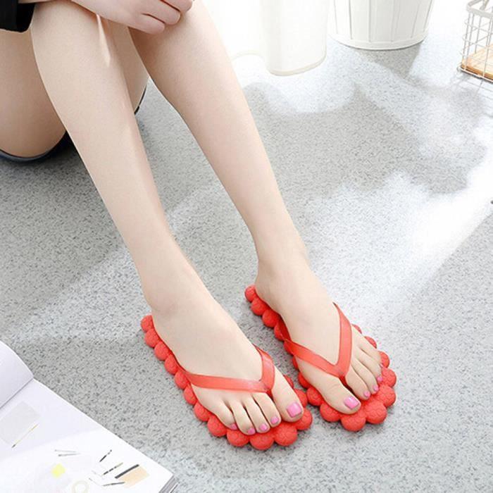 Mode féminine pour femmes Casual Flip-flops Chaussons Chaussures de plage  Voyage Massage rouge lxWSmo 58a2fd4fd602