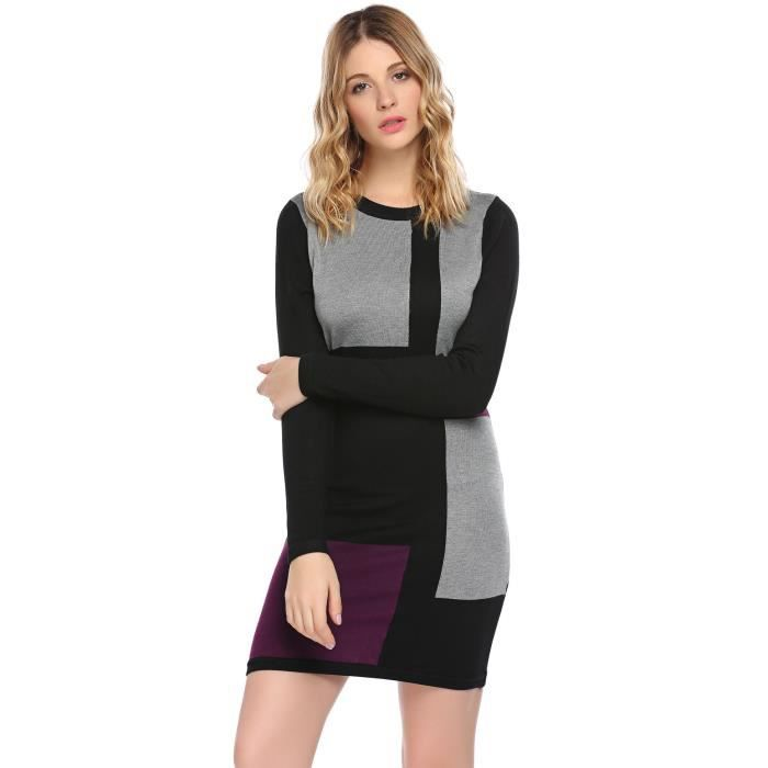 Femmes Robe Femme Casual O-Col Manches Longues Patchwork Slim Automne Hiver