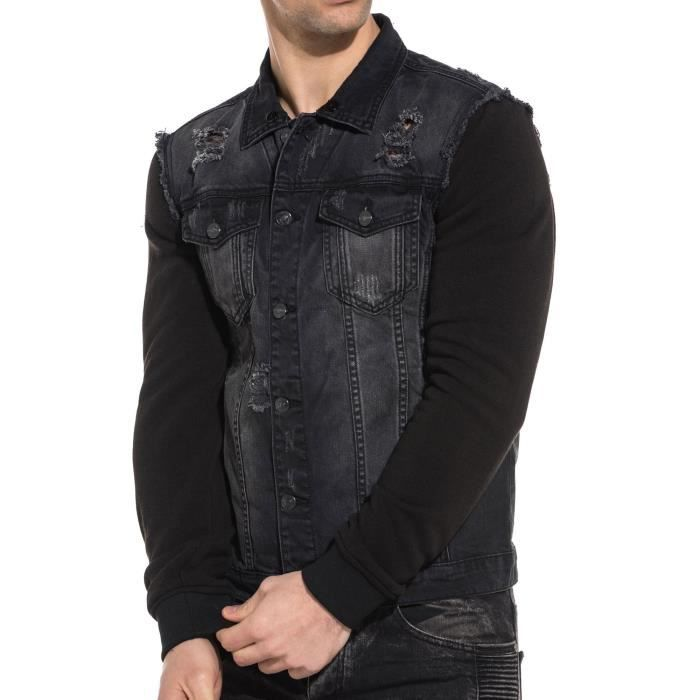Veste en jean noir délavé destroy manches sweat Noir Noir - Achat ... 90be885014ed
