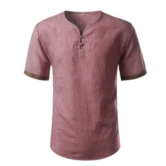 Lin Cou Broderie Courte Pour Casual Slim V Henley Coton Chemise Homme Manche HwZgg