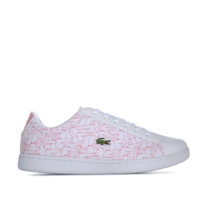 19b4e851de0a2 Baskets Lacoste Carnaby Evo pour fille en blanc et rose Blanc rose ...