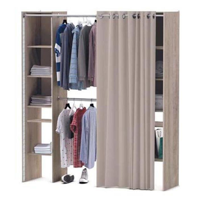 kit placard extensible star 2 colonnes et rideau en panneaux de particules ch ne dim 113 3 x. Black Bedroom Furniture Sets. Home Design Ideas
