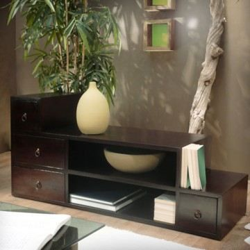 Meuble tv en acajou 120 classika mini step achat vente for Meuble tv acajou