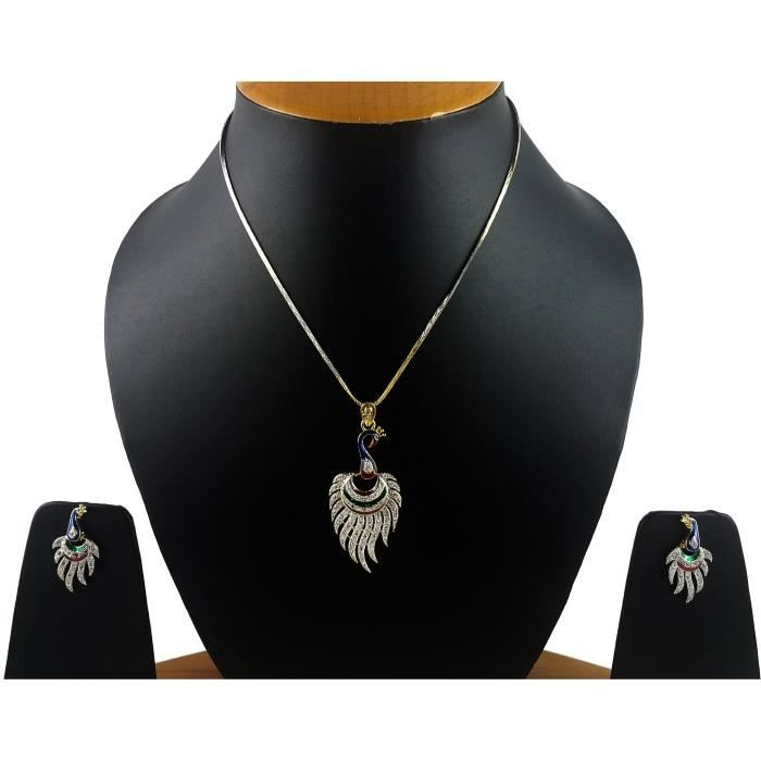 Womens Cz Designer Peacock Pendant Set - Necklace Set With Chain And Earrings For AndQFCBA