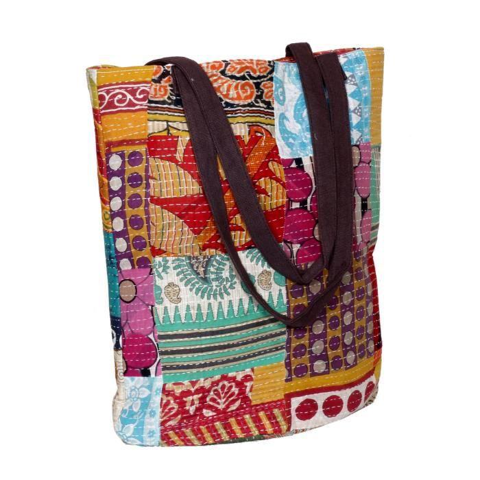 femmes vintage coton kantha travail toile poignée sacs à bandoulière à la main AB79M