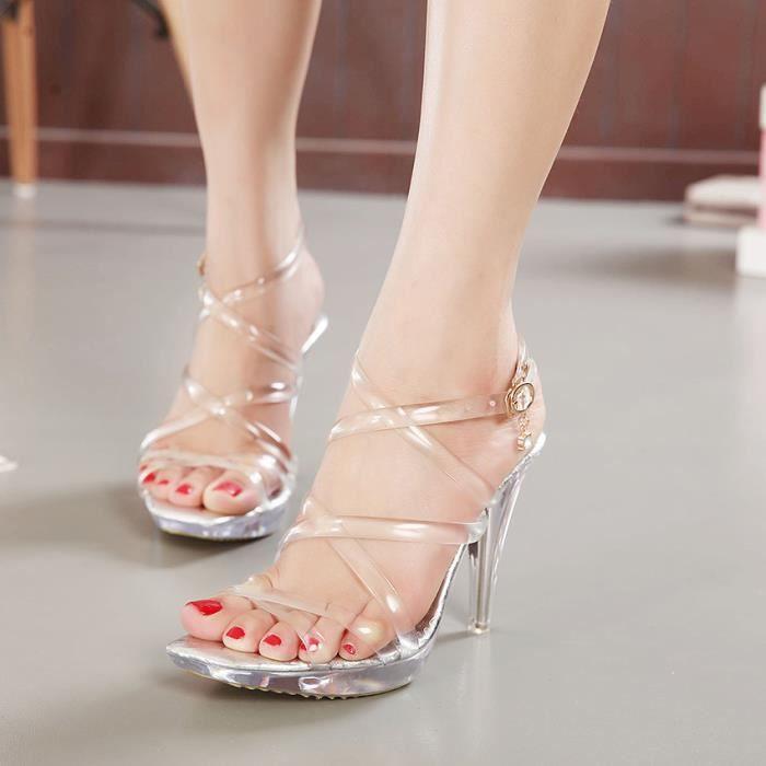 Nouveau argent luxe de chaussure 10cm été plate-forme transparente mariage bohème sandales bridal