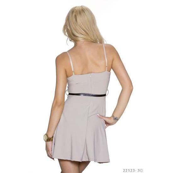 robe courte dos nu beige noire femme sexy