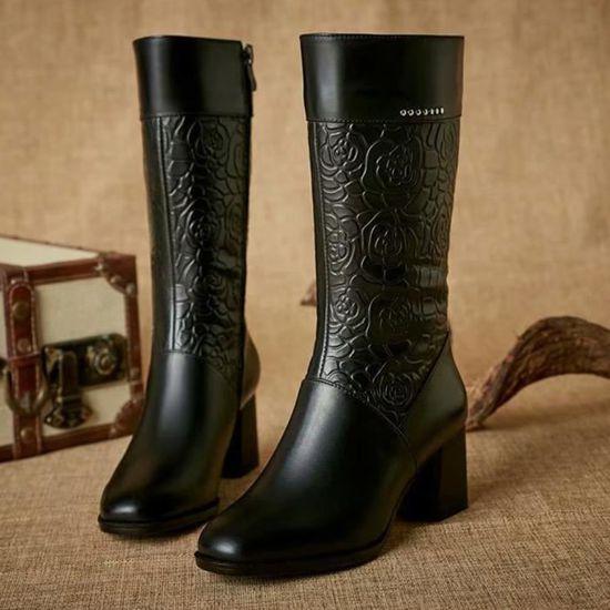 Talon Femmes Au Noir À Garder Zipper Toe Bottillons Shoes Chaud Martin Haut En Ronde Bottes Cuir qEYqxrSw